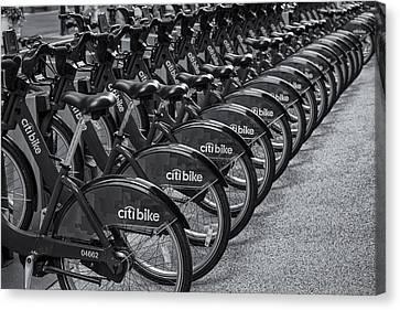 Citi Canvas Print - Citi Bikes Bw by Susan Candelario