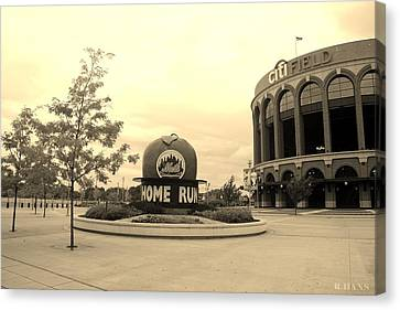 Citi Field In Sepia Canvas Print by Rob Hans