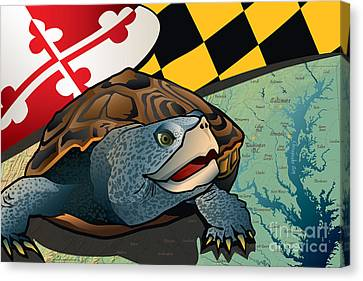 Diamondback Canvas Print - Citizen Terrapin Maryland's Turtle by Joe Barsin