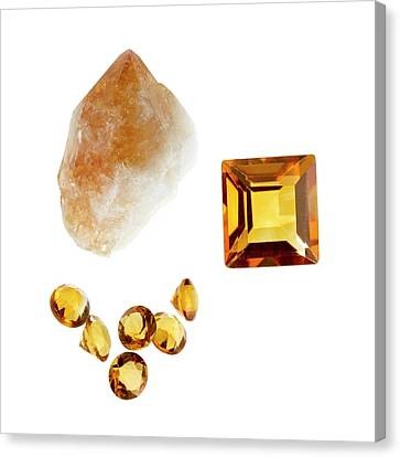 Citrine Gemstones And Crystal Canvas Print by Science Photo Library