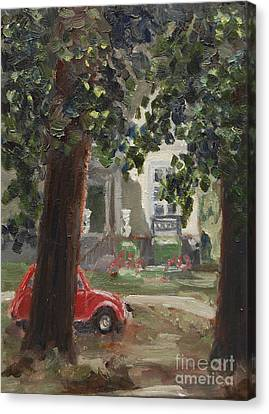 Citroen 2cv And Marialust Apeldoorn Canvas Print by Ernst Dingemans