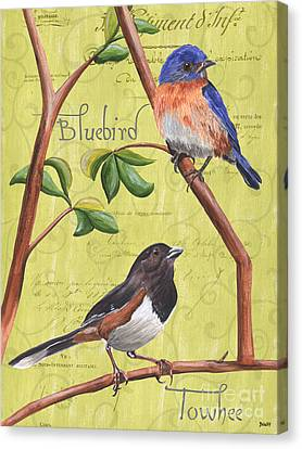 Citron Songbirds 1 Canvas Print by Debbie DeWitt