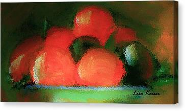 Citrus In Pottery Bowl Canvas Print by Lisa Kaiser