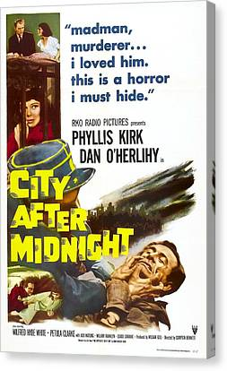 1950s Poster Art Canvas Print - City After Midnight, Us Poster, Bottom by Everett