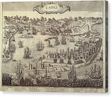 City And Harbour Of Cadiz. Engraving Canvas Print