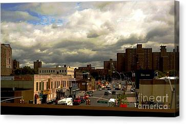 Canvas Print featuring the photograph City And Sky by Miriam Danar