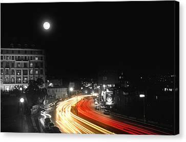 City And The Moon Canvas Print by Taylan Apukovska