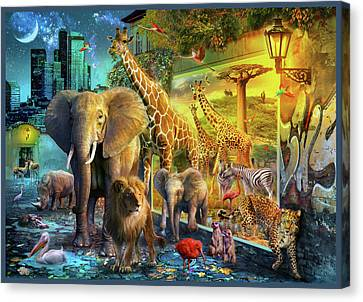 Canvas Print featuring the drawing City Animals by Jan Patrik Krasny