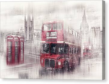 City-art London Westminster Collage II Canvas Print by Melanie Viola