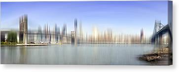 City-art Manhattan Skyline I Canvas Print by Melanie Viola