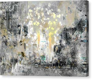Modern Digital Art Digital Art Canvas Print - City-art Manhattan Sunflower by Melanie Viola
