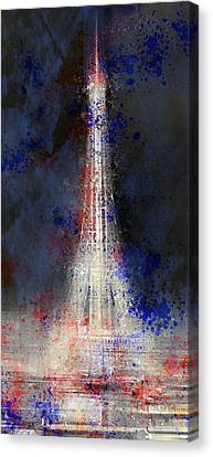 City-art Paris Eiffel Tower In National Colours Canvas Print by Melanie Viola