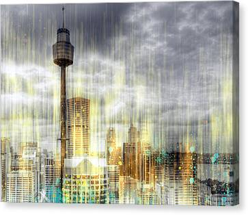 City-art Sydney Rainfall Canvas Print by Melanie Viola