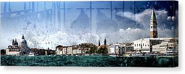City-art Venice Panoramic Canvas Print by Melanie Viola