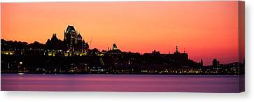 City At Dusk, Chateau Frontenac Hotel Canvas Print by Panoramic Images