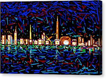 City At Night-2 Canvas Print by Anand Swaroop Manchiraju