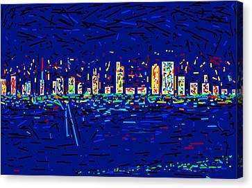 City At Night Canvas Print by Anand Swaroop Manchiraju