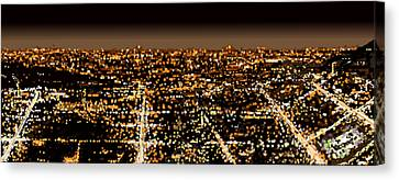 Canvas Print featuring the painting City At Night by Shabnam Nassir