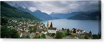 City At The Lakeside, Lake Lucerne Canvas Print by Panoramic Images