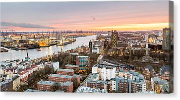 City At The Waterfront, Elbe River Canvas Print by Panoramic Images