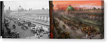 Boston Ma Canvas Print - City - Boston Mass - Morning At The Farmers Market - 1904 - Side By Side by Mike Savad