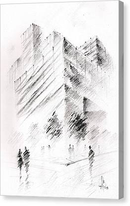 Canvas Print featuring the drawing City Building by Fanny Diaz