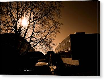 Sun Rays Canvas Print - City Buildings by Tommytechno Sweden