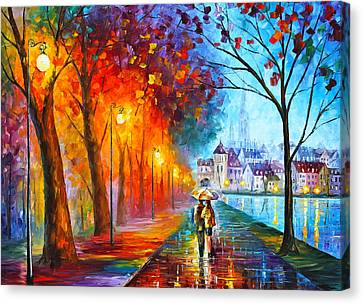Couples Canvas Print - City By The Lake by Leonid Afremov
