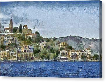 City By The Sea Canvas Print by Ayse Deniz