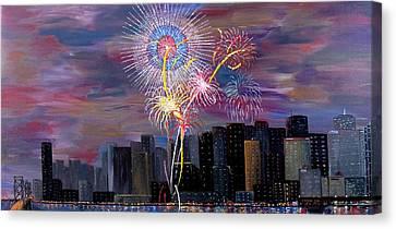 4th July Canvas Print - City Celebration San Francisco Bay by Mark Moore