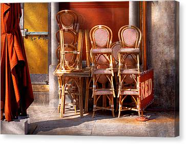 South Street Seaport Canvas Print - City - Chairs - Red by Mike Savad