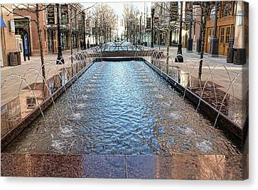 Canvas Print featuring the photograph City Creek Fountain - 1 by Ely Arsha