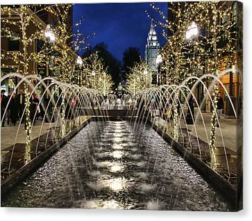 Canvas Print featuring the photograph City Creek Fountain - 2 by Ely Arsha