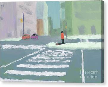 City Crosswalk Canvas Print