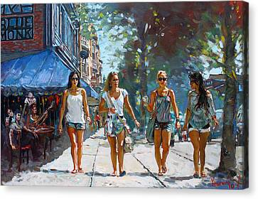 Shopping Canvas Print - City Girls by Ylli Haruni