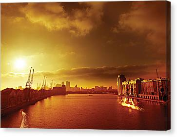 City Gold Canvas Print by David Davies
