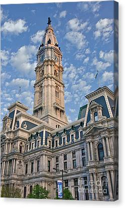 City Hall Clock Tower Downtown Phila Pa Canvas Print