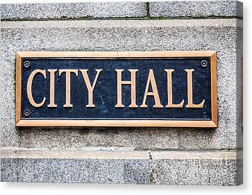 City Hall Municipal Sign In Chicago Canvas Print by Paul Velgos