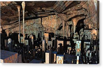 City In A Cavern Canvas Print by Hal Tenny
