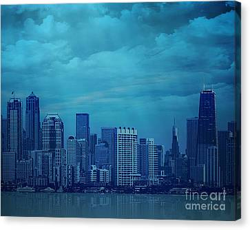 City In Blue Canvas Print by Bedros Awak