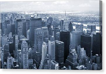 City In Blue Canvas Print by Mike McGlothlen