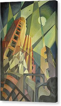 City In Shards Of Light Oil On Canvas Canvas Print by Carolyn Hubbard-Ford