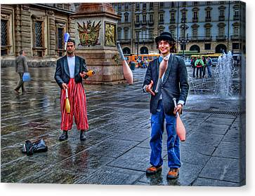 Canvas Print featuring the photograph City Jugglers by Ron Shoshani