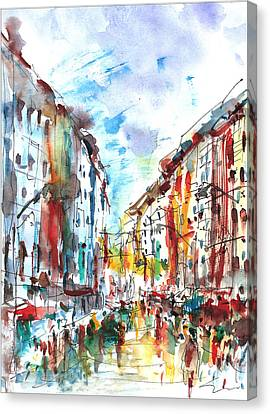 Canvas Print featuring the painting City Life... by Faruk Koksal