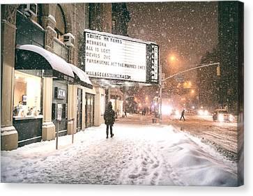 City Lights And Snow At Night - New York City Canvas Print