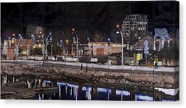 Canvas Print featuring the painting City Lights by Bonnie Heather