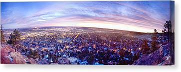 City Lights Boulder Colorado Panorama Sunrise Canvas Print by James BO  Insogna