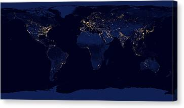 City Lights - Earth Canvas Print by World Art Prints And Designs