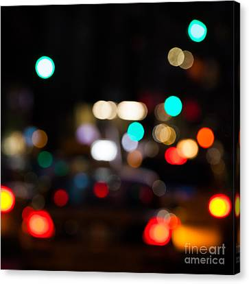 Depth Of Field Canvas Print - City Lights  by John Farnan