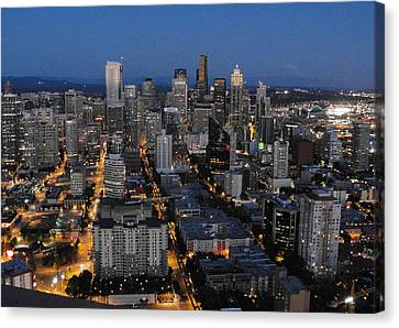 Canvas Print featuring the photograph City Lights by Natalie Ortiz
